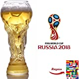 Beer Mug Glass Cup,2018 Russia FIFA World Cup Beer Mug High-Borosilicate Transparent Glass Football World Cup Design Mugs For Beer Whiskey Wine Juice Water Football Fans Party (450ML)