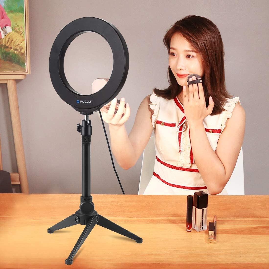 8 Colour 4.7 inch RGBW Dimmable LED Ring Light kit with Desktop Tripod Mount and Cold Shoe Tripod Ball Head/for Selfie YouTube Video Makeup 10 Brightness Levels PULUZ Ring Light