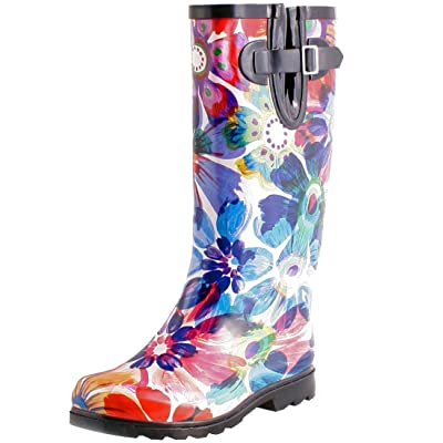 TWO Nomad Women's Drench Colorful Pattern Print Waterproof Rain Boots: Shoes