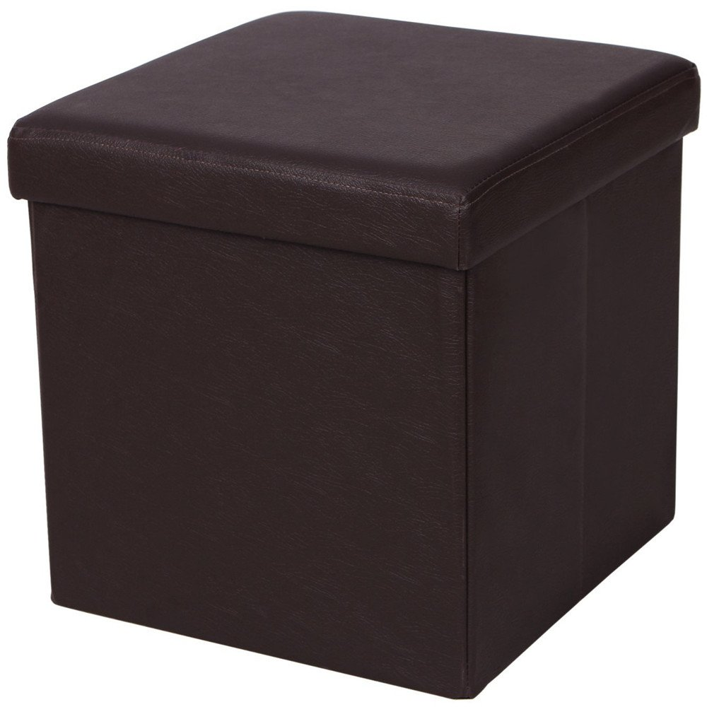 Crazyworld Leather Footstool with Storage Ottoman Box Removable Pouf, Square Cube Foot Rest Bench Seat Stepping Stool, for the Bedroom, Kitchen and Bathroom Square, Brown