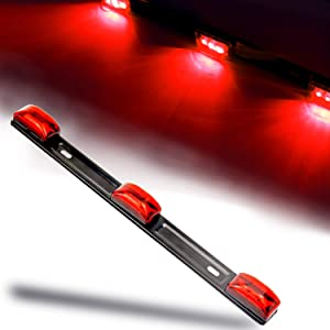 """iBrightstar Waterproof 14"""" Red LED Marker ID Lights Bar with Black Stainless Steel Bracket Assembly for Pickup Trailers Truck Boat SUV RV"""