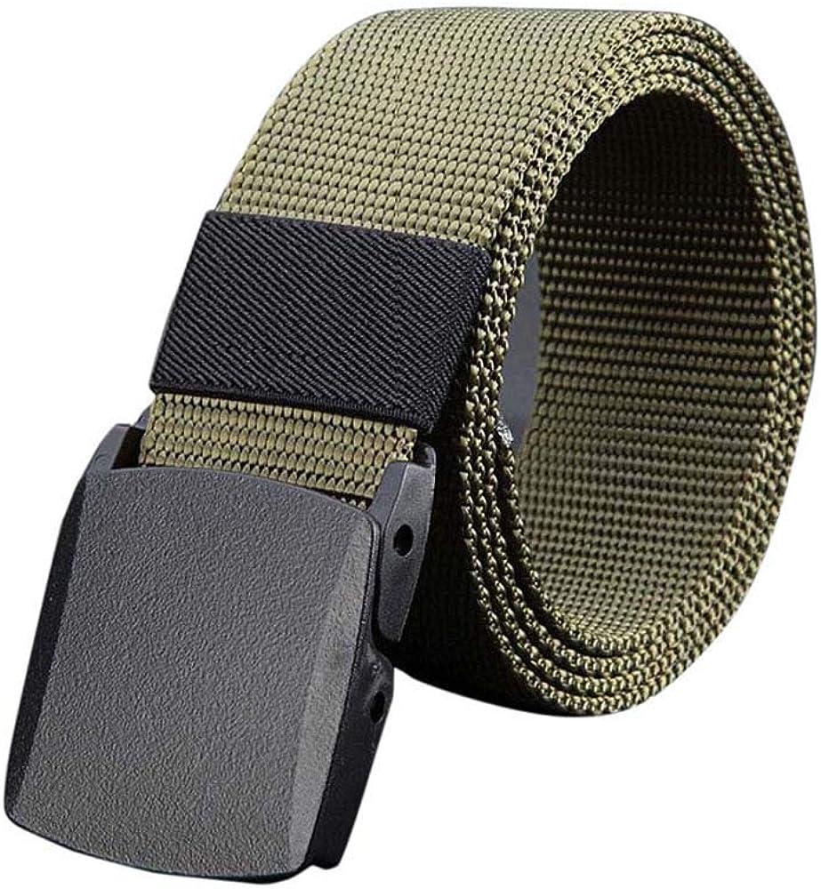 Mens Belt No Metal Plastic Buckle Canvas Belts Casual Jeans Belt