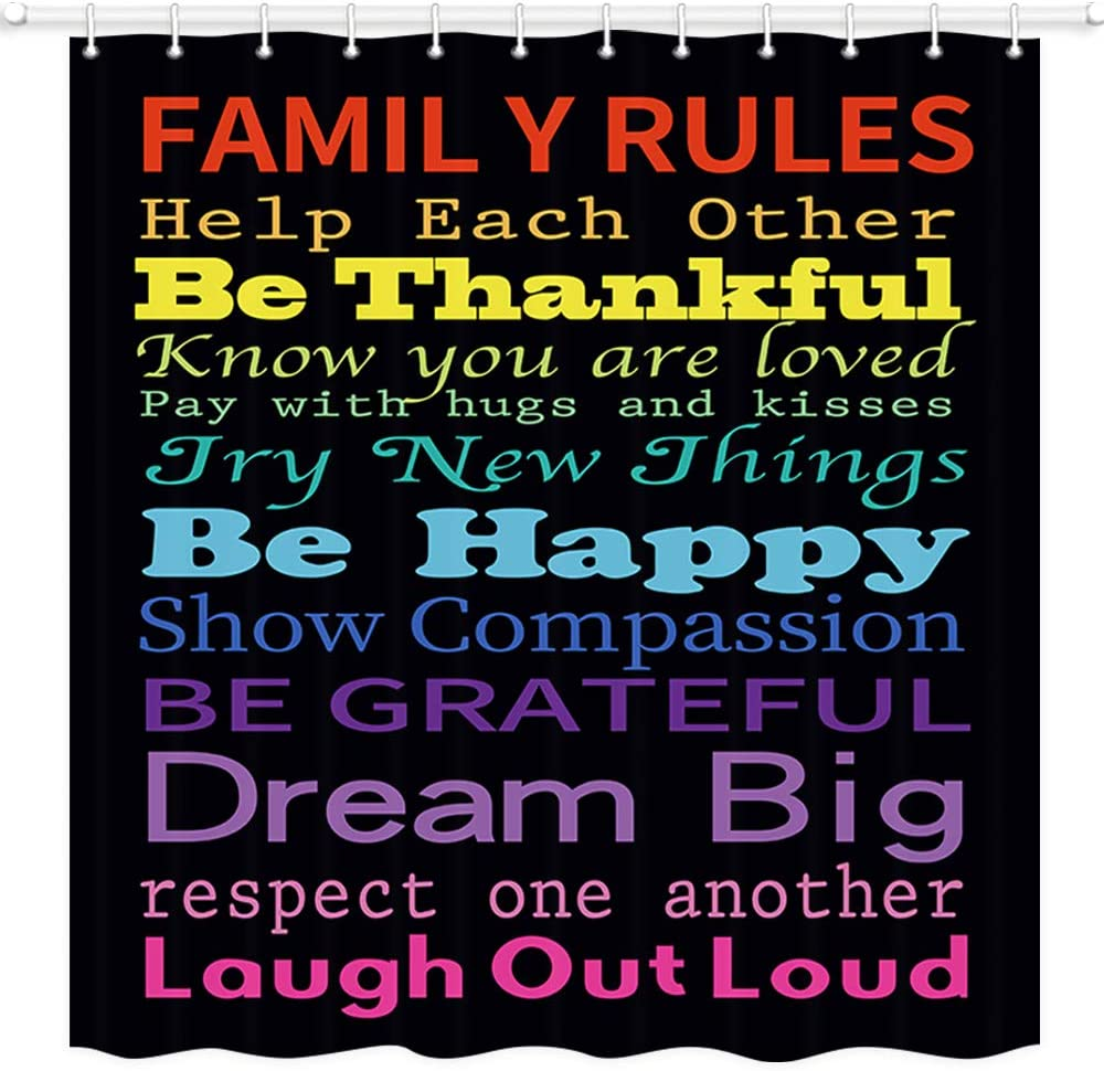 JAWO Family Rules Educational Shower Curtain, Colorful Words Bathroom Rules Shower Curtain for Kids, Polyester Fabric Bath Curtains with Hooks 69W X 70L Inches