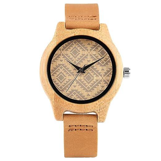Reloj de Madera Ligero Estilo Boho Pulsera Esfera Cuadrada Reloj de Madera Mujer bambú Hembra Reloj de Pulsera de bambú: Amazon.es: Relojes