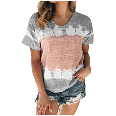 Women Shirts Summer Pullover Blouse Gradient Print Top Casual Short Sleeves T-Shirt Pullover Tops: Clothing