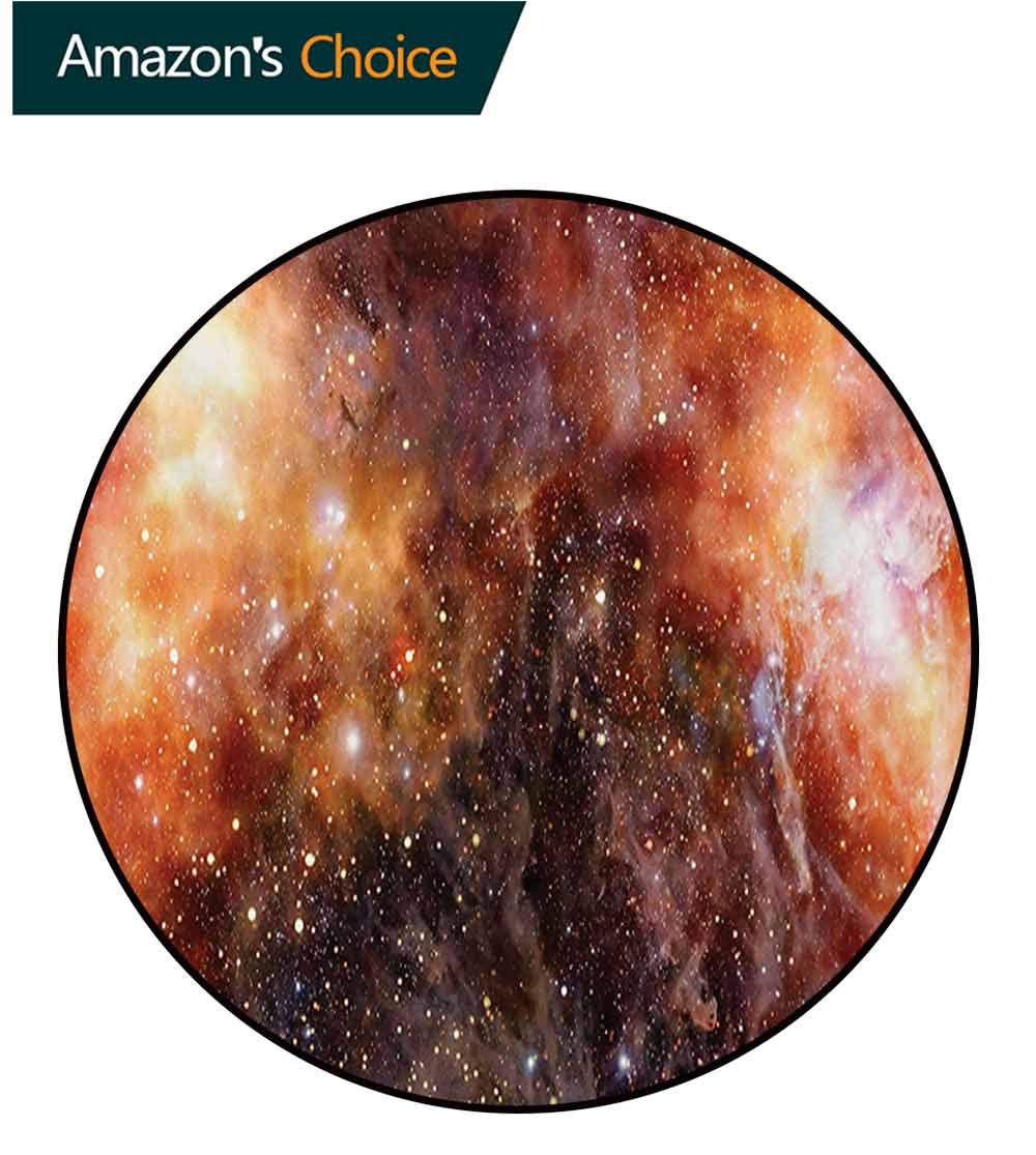 RUGSMAT Outer Space Art Deco Pattern Non-Slip Backing Washable Round Area Rug,Nebula Gas Cloud in Deep Outer Space Galaxy Expanse Milky Way Print Foam Mat Bedroom Decor,Round-63 Inch by RUGSMAT (Image #3)