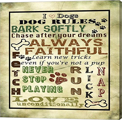 I Love Dogs - Dog Rules by Jean Plout Canvas Art Wall ,