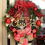 Last 100% ON SALE Christmas Garland Decoration Bowknot Decorative Wreath Crest wood Spruce Annulus Party Christmas Wreath Circular Ring with Green Bristle, Cones, Red Berries Factory Direct(Red)