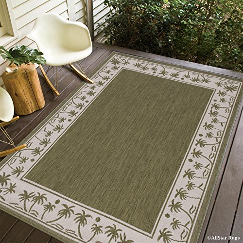Allstar 8 X 10 Sage Green with Ivory Indoor Outdoor Solid with Palm Trees Area Rug (7' 10