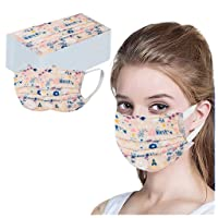 BBZUI 50 pcs Disposable Cute Printed Soft Face_masks for Adult,Unisex 3 Layer_masks Elastic Earloop Face Bandana (C#1, One size)