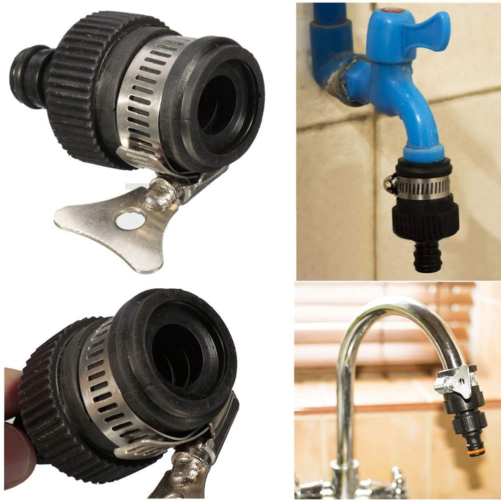 THAWxe Tap Connector, Universal Garden Hose Pipe Tap Connector Mixer Kitchen Bath Tap Faucet Adapter - Black