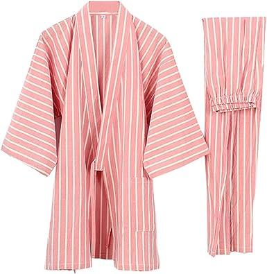 Traje de Pijama de Traje de Pijamas Kimono de Estilo japonés para Mujer [Talla L, Rosa]
