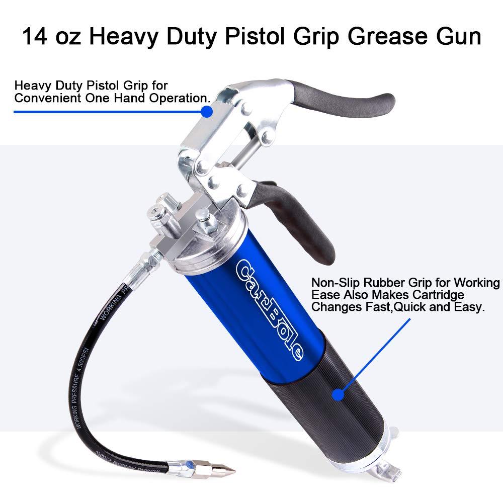 4500 PSI Lata de Aluminio anodizado con Manguera Flexible de 12 Pulgadas Color Azul lubricaci/ón CarBole Pistola de Grasa Profesional de Alta Resistencia