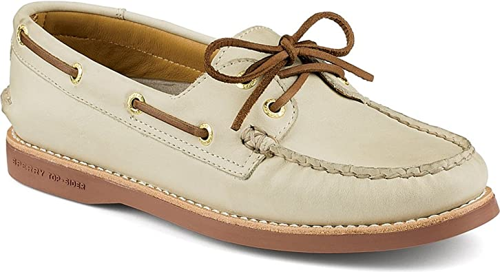 Gold A/O Boat Core Shoe, Ivory Leather