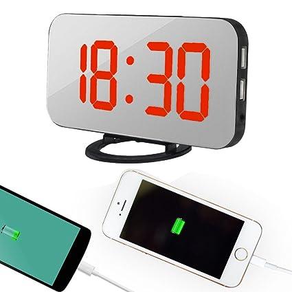Shuangklei Reloj Despertador Digital Led Con Puerto Usb Para El Cargador Del Teléfono De Escritorio Snooze