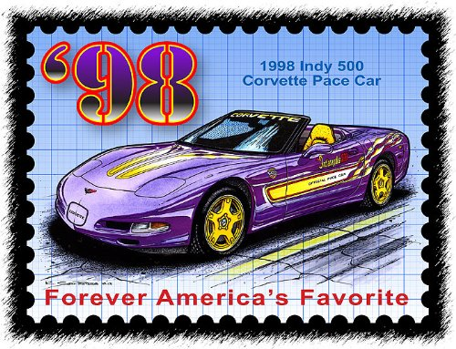 1998 Indy 500 Corvette Pace Car Postage Stamp