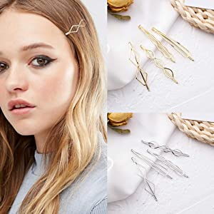 8 Pcs Metal Geometric Hair Pins Minimalist Dainty Triangle Rhombus Hair Clip Clamps Accessories Barrettes Bobby Pin for Hair Styling Jewelry(Gold and Silver)