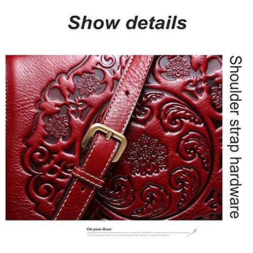 Bag Purpose Burgundy Crossbody Embossing Retro Messenger Satchel Chinese Saddle Ladies Purse Bag Style Multi Genuine Yoome Bag for Women Shoulder Leather 67fR55wq