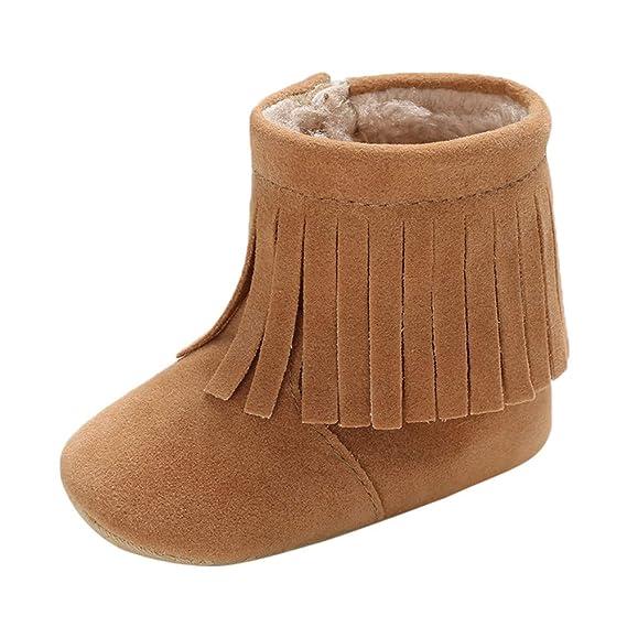 Botas Bebe Invierno, Zapatos Cuna Suave Bebé Niños Niñas Primeros Pasos Botas de Nieve Suave con borlas Botines Sneakers Zapatillas Deportivas