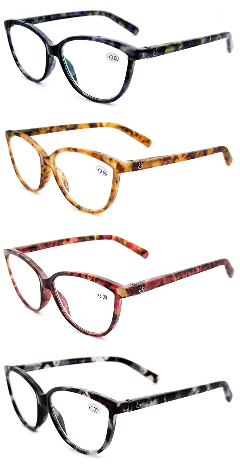 3b67ab4fa77 Amazon.com  Women s Reading Glasses 4 Pack - Stylish Horn Rimmed Readers  for Ladies in 4 Tortoise Shell Colors - +100 - by Optix 55  Clothing