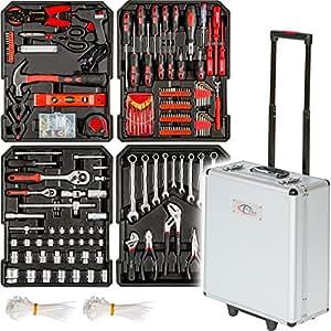 TecTake Maletín con herramientas 616pc piezas maleta trolley caja martillo alicates