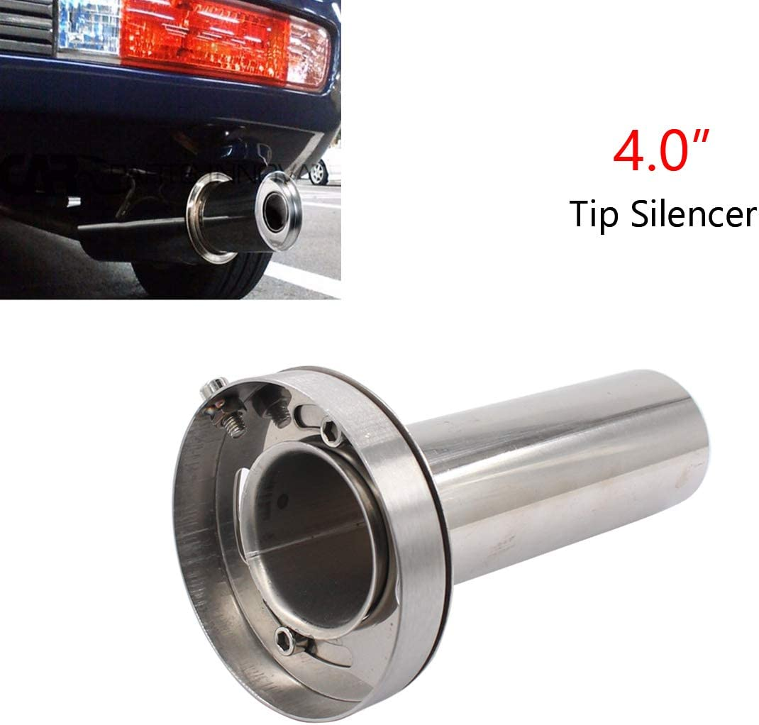 4 inch Adjustable Stainless Steel Round Exhaust Muffler Tip Removable Silencer Inner Silence