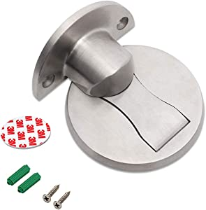 Magnetic Door Stopper, Invisible Magnetic Door Stop, Brushed Satin Nickel, No Need Drill with 3M Adhesive, Stainless Steel Floor Magnetic Door Catch Door Hold (Silver)