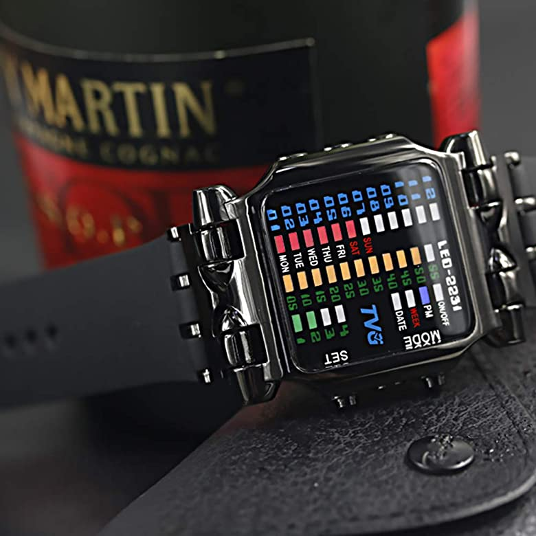 Men's Digital Watch TVG Cool Creative Fashion Watch LED Display Waterproof Watch Binary Digital Clock Casual Gift Watches