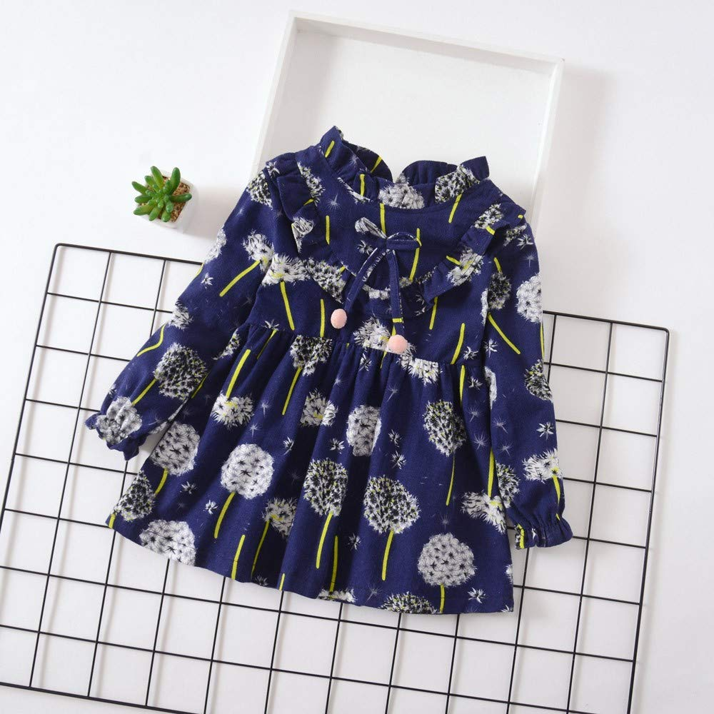 LISTHA Floral Dress Toddler Baby Girls Long Sleeve Flower Cute Outfits Clothes