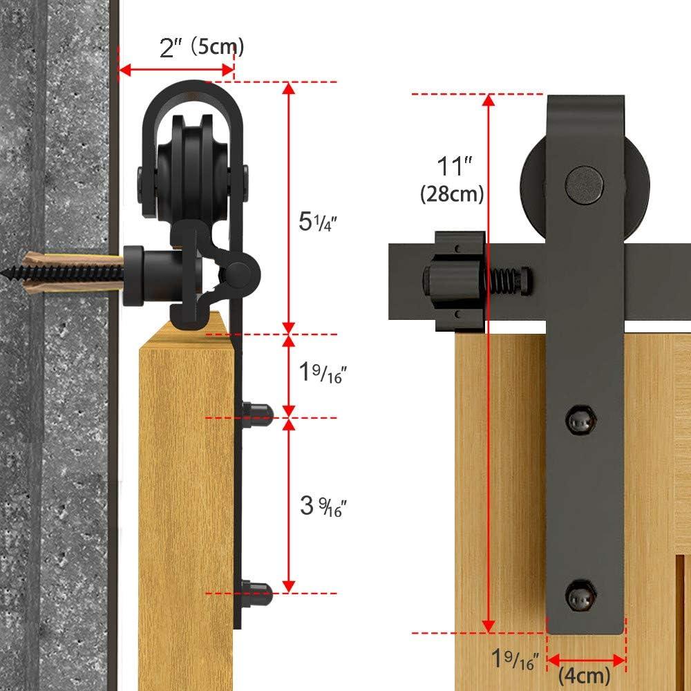 6FT/183CM Herraje para Puerta Corredera Kit de Accesorios, Guia Riel Puertas Correderas, Forma J: Amazon.es: Bricolaje y herramientas