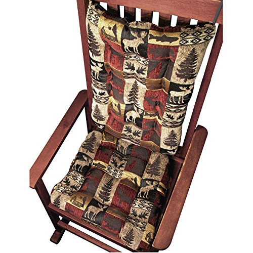 Rocking Chair Cushions - Woodlands Lodge Fairbanks Red - Size Extra-Large / Presidential - Seat Cushion & Back Cushion - Latex Foam Fill (Moose, Elk, Log Cabin) (Dark Oak Rocker)