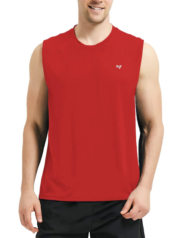 Roadbox Men's Performance Sleeveless Workout Muscle Bodybuilding Tank Tops Shirts Red by Roadbox