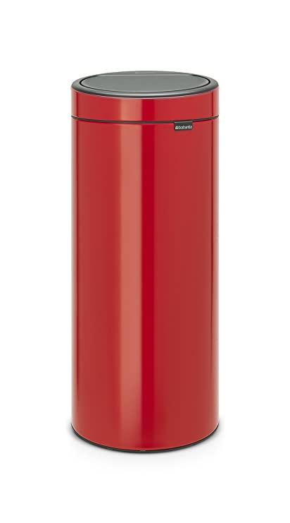 Brabantia Touch Bin Cubo de Basura, 30 litros, Acero Inoxidable, Rojo, 32 x 29.5 x 72 cm