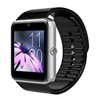 Mgaolo GT08 Smart Watch Smartwatch Bluetooth Sweatproof Touchscreen Phone with Camera TF/SIM Card Slot for Android and iPhone Smartphones for Kids Girls Boys Men Women (Silver)