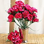 Tableclothsfactory-84-pcs-Artificial-Camellia-Flowers-for-Wedding-Arrangements-12-Bushes-Fuchsia