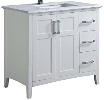 Simpli Home Winston 36u0026quot; Bath Vanity With Quartz Marble Top, ...