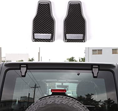 Carbon fiber For 2018 Jeep Wrangler JL Upper Rear Door Window Hinge Cover Trim