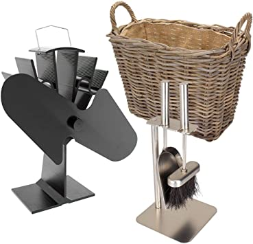 Valiant - Juego completo de quemador de leña, accesorio para chimenea (incluye ventilador de estufa, cesta de ...