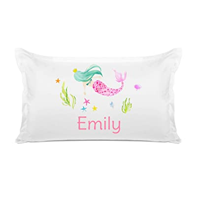 Di Lewis Kid's Personalized Pillowcase – Colorful Mermaid Pillow Case - Customize with Name - Hypoallergenic, Breathable, Anti Wrinkle, White - 20x30 Standard Queen: Home & Kitchen