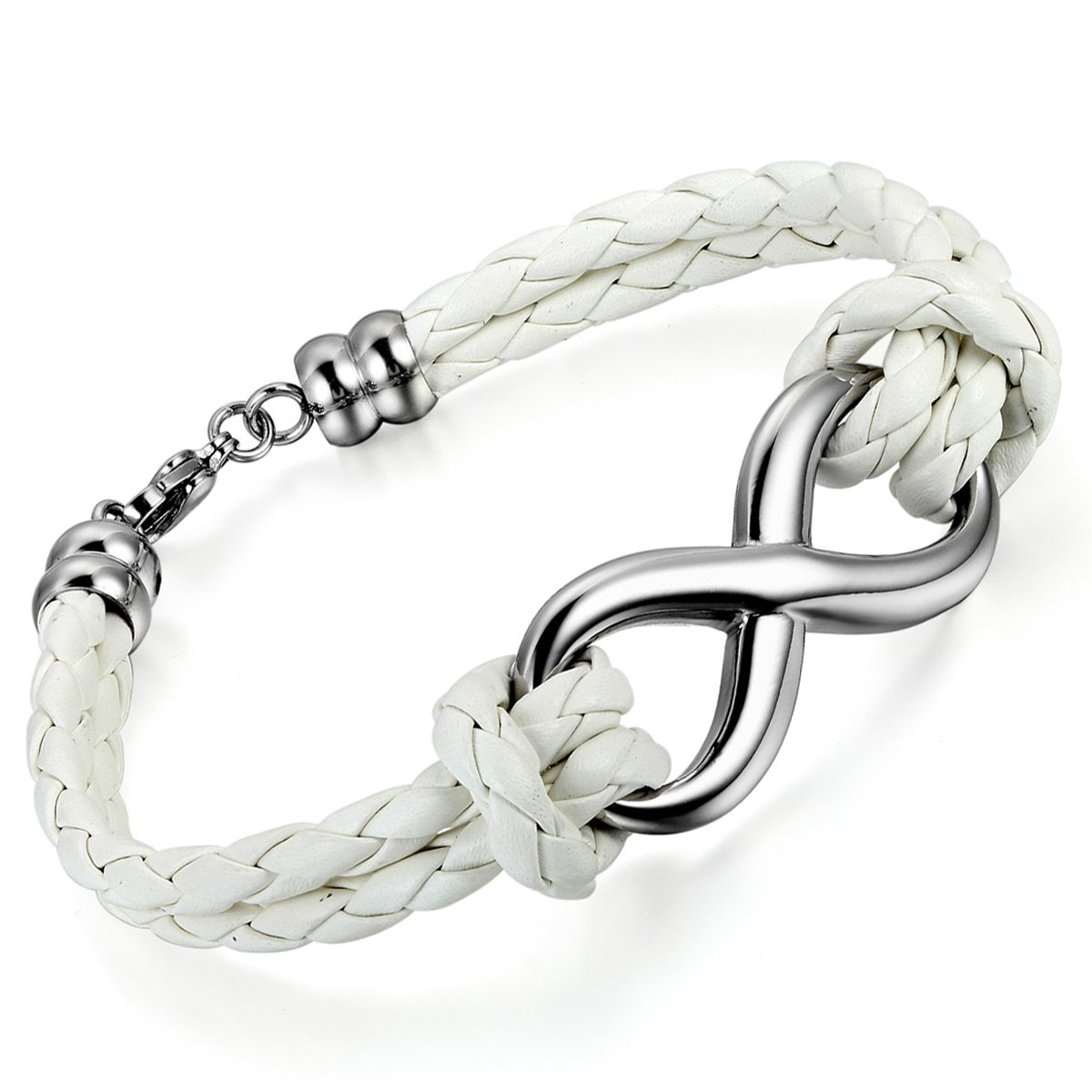 Cupimatch Love Infinity Symbol Braided Leather Bracelet White Wristband Bangle for Men Women