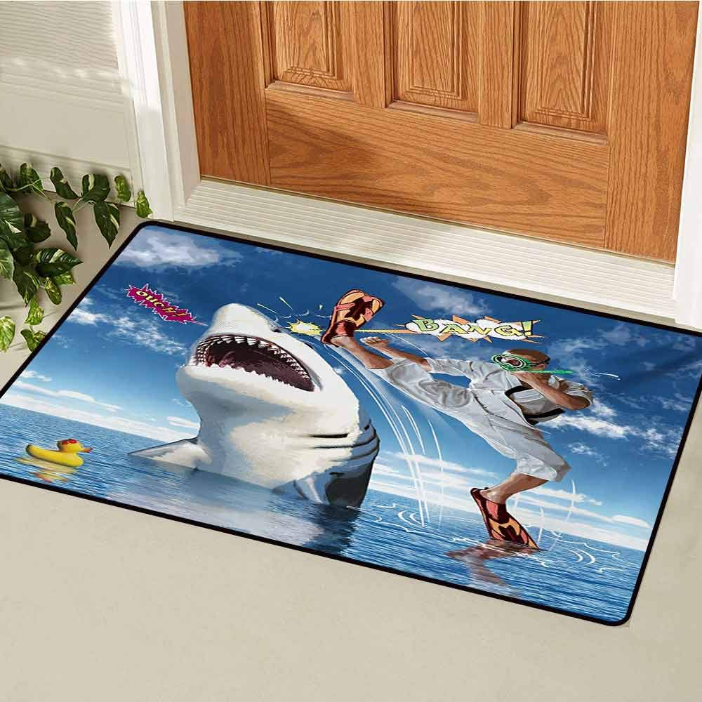 GUUVOR Sealife Inlet Outdoor Door mat Unusual Marine Navy Life Animals Fish Sharks with Karate Kid and Comics Balloon Art Catch dust Snow and mud W47.2 x L60 Inch Multicolor by GUUVOR