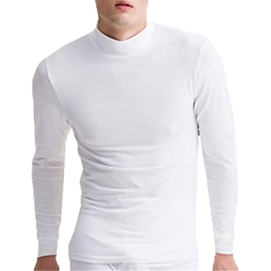 317499f83f6618 Baqijian Autumn Winter Men High Neck Long Sleeve T Shirts Basic Turtleneck T -Shirt Warm