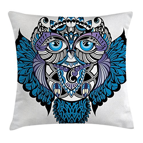 illow Cushion Cover, Owl Bird Animal with Paisley Tattoo Decor with Big Blue Eyes Lashes, Decorative Square Accent Pillow Case, 18 X 18 Inches, Navy Blue and Purple ()