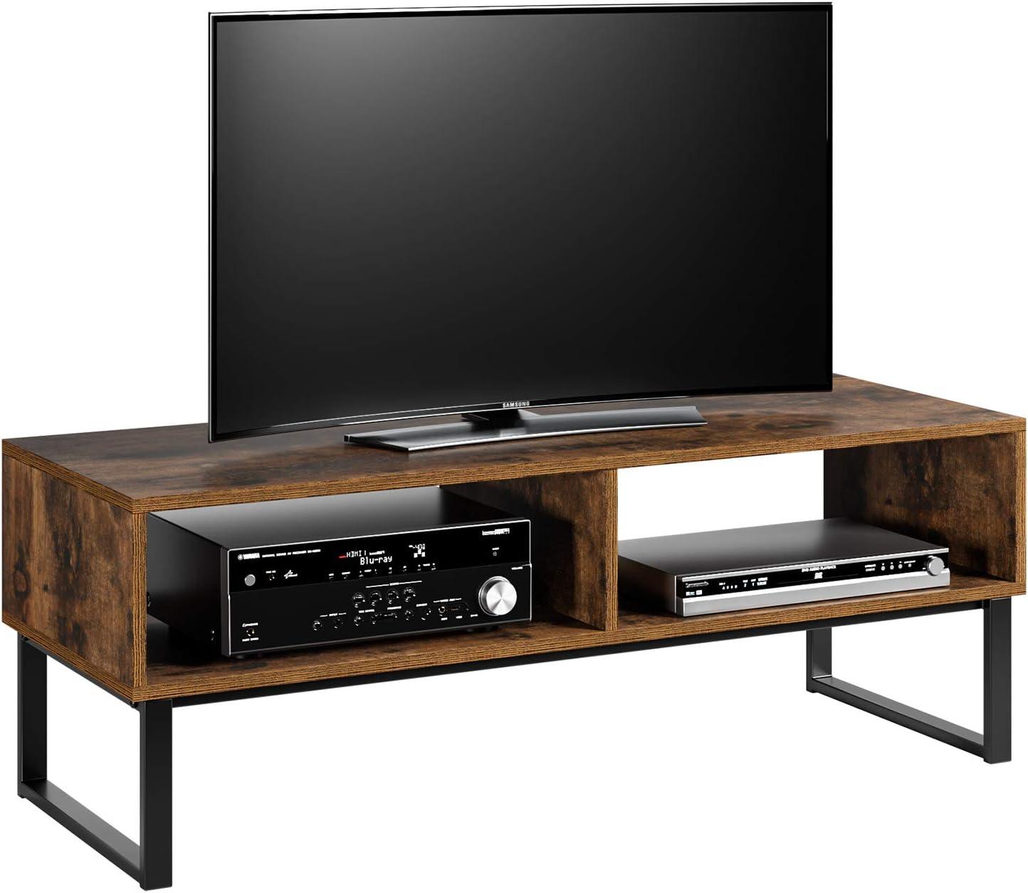 Homfa Fernsehtisch Tv Regal Tv Schrank Tv Tisch Tv Möbel Tv Lowboard Tv Board Fernsehschrank Wohnzimmertisch Vintage Holz Metell 108x40x40cm Küche Haushalt