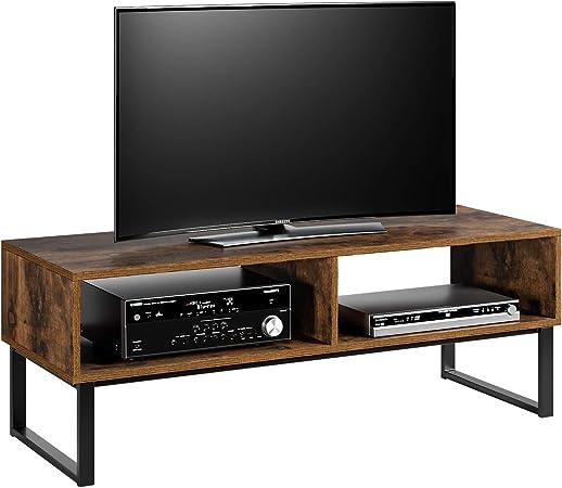 Homfa Meuble Tv Vintage Meuble Television Bas Table Basse Table De Salon En Bois Et Fer 108 40 40cm