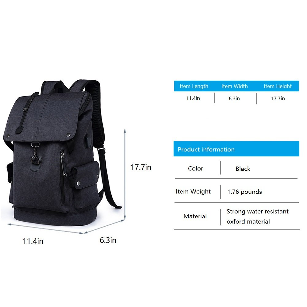 Business Laptop Backpack, Slim Anti Theft Computer Bag, Water-resistent College School Backpack, Eco-friendly Travel Shoulder Bag / USB Charging Port Fits UNDER 15.6 Inch Laptop & Notebook (Black) by damo (Image #4)