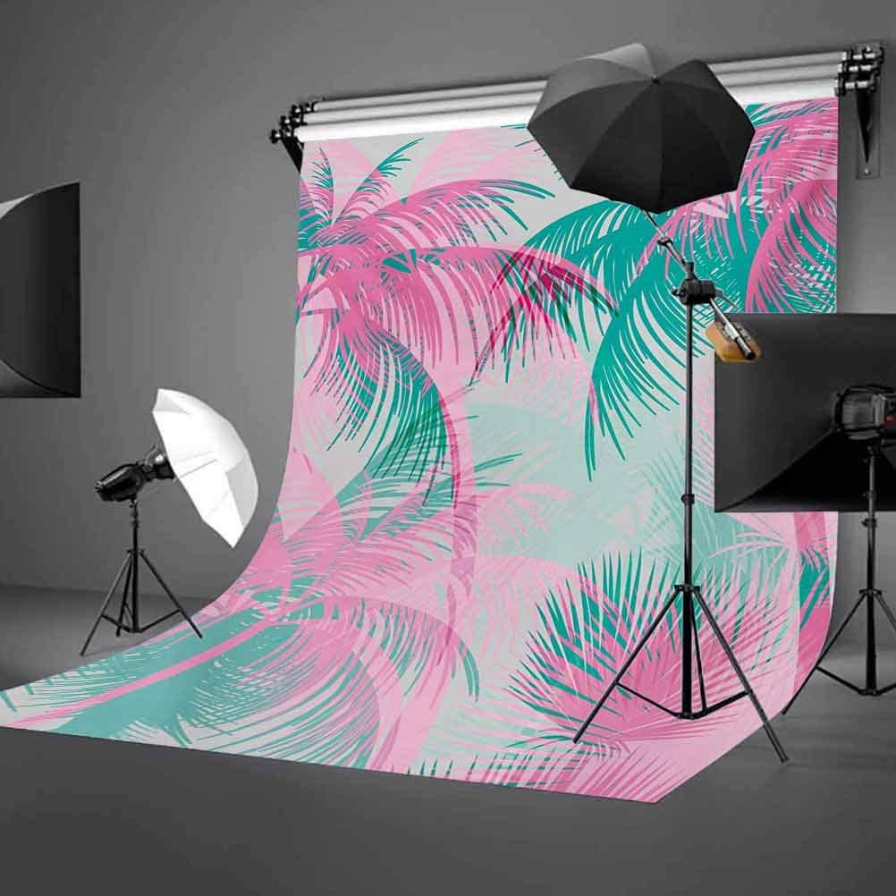 Palm Leaf 10x12 FT Backdrop Photographers,Beach Party Theme Vibrant Composition with Pink and Green Trees Vintage Background for Party Home Decor Outdoorsy Theme Vinyl Shoot Props Pink Teal White