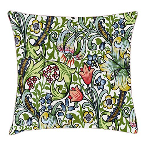 HFYZT William Morris Golden Lily Floral Chintz Pattern Throw Pillow Cover 18x18 Inch Two Sides Design Printed Pillowcase