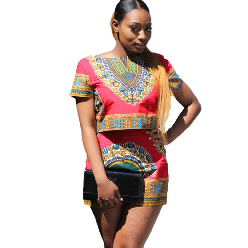 Sunward Women's African Print Dashiki 2 Pieces Outfit Short Sleeve Crop Top+Shorts Set Rompers (Red, XL)