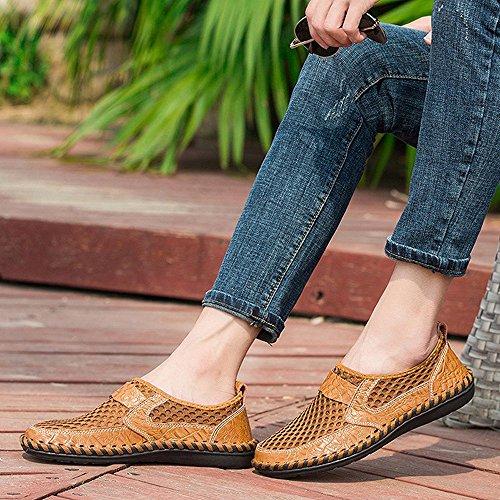 Ligeros Para Mocasines hellomiko Hombres Huecos Para Zapatos Malla Al de Caminar Libre Aire Transpirables Zapatos marrón r7fwq8SXwx